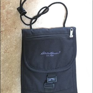 Eddie Bauer black crossbody passport pouch